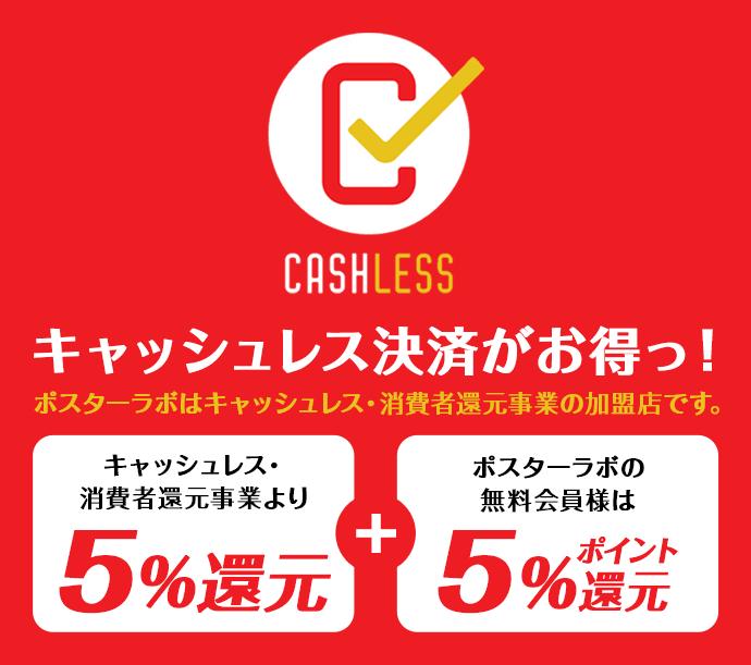キャッシュレス決済がお得っ!ポスターラボはキャッシュレス・消費者還元事業の加盟店です。
